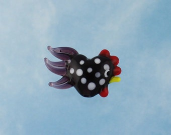 Large lampwork glass rooster bead - Black with White Spots and a Purple Tail - 1 piece - chicken - loose beads - jewelry and crafts DIY
