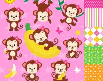 Monkey Digital Clipart, Monkey Clipart, Baby Monkey clipart, Monkey Girl clipart