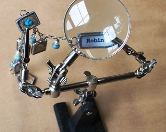 3rd Hand Holds SMALL pieces for Soldering ~*~ It's HELP with Magnifier Glass ~*~  Helping Hands Tool