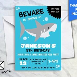 Hai Geburtstags Party Einladen, 5 X 7 Digitale Personalisierte Hai  Geburtstags