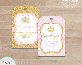 Pink and Gold Princess favor tags, Thank you Tags, Gift Favors, Chevron Party Decoration, Party Favors, Printable DIY, Instant download