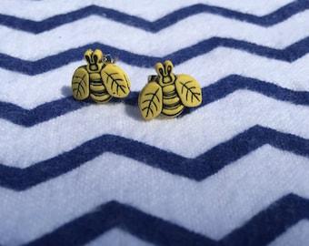 Sweet Little Bee Button Earrings