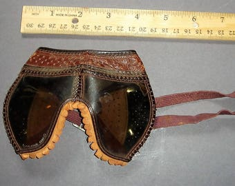 Antique Polaroid Tooled Leather & Fringed Aviator Goggles