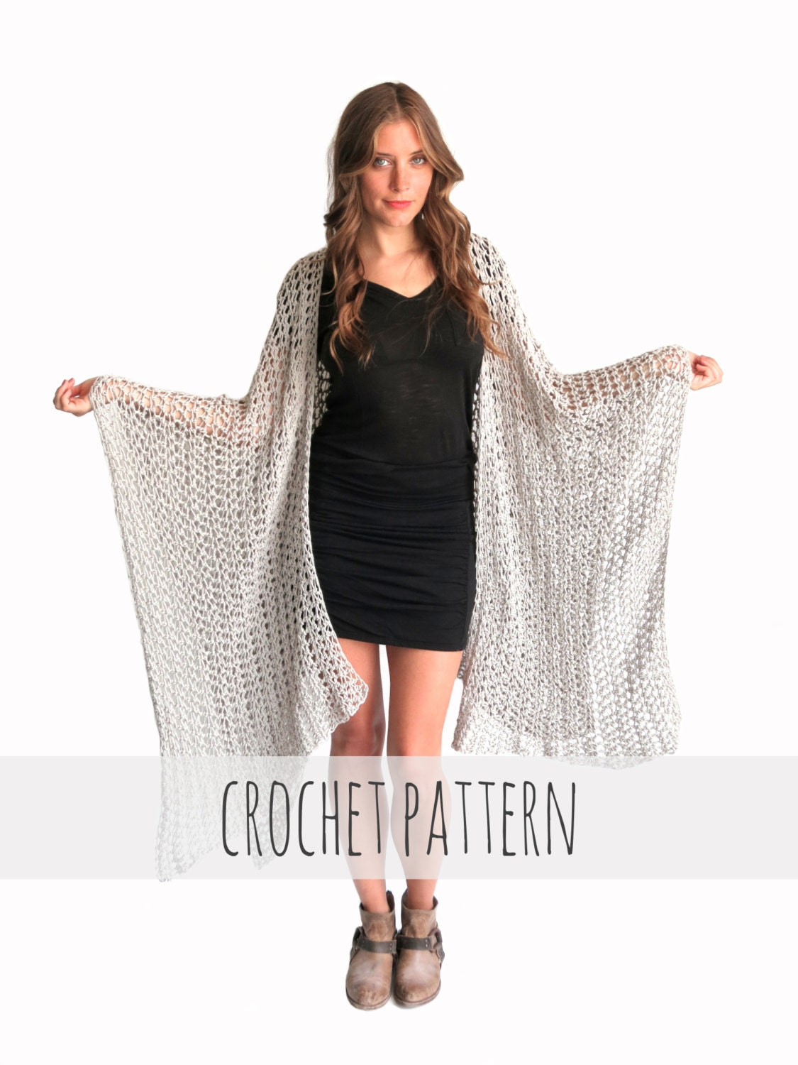 PATTERN for Loose Knit Crochet Poncho Beach Cover Up Wrap Cape