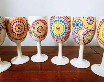 Ceramic Wine Glass Ceramic Goblet Custom Wine Goblet Personalised Wine Glass Custom Colours Hand Painted Wine Glass