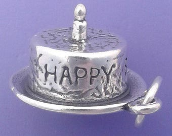 Baby's 1st HAPPY BIRTHDAY CAKE With Candle Charm .925 Sterling Silver Pendant - lp2444