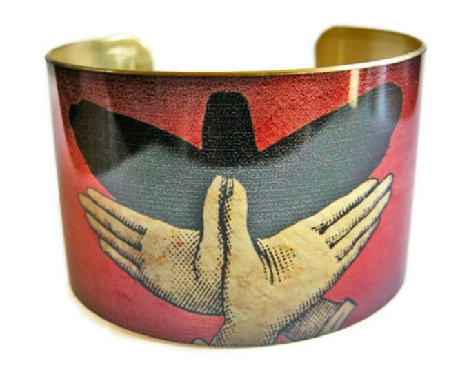 Bird Shadow Puppet cuff bracelet brass   Gifts for her