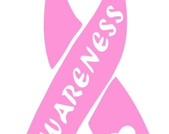 Breast Cancer Awareness AWARENESS Ribbon Vinyl Decal T59