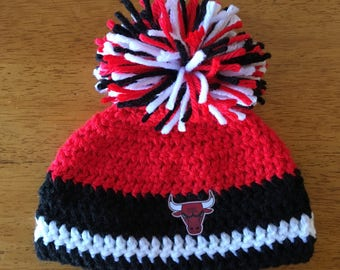 Crocheted Chicago Bulls Baby Hat