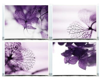 Set of 4 Photographs, Purple Photography, Set of 4 Pictures, Macro Photography, Digital Photo Download, Digital Photographs, Violet Wall Art