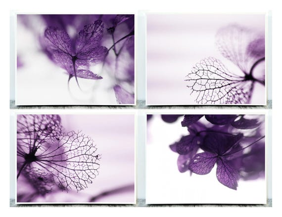 Lovely Set of 4 Photographs (Macro Photography) of Hydrangea Flowers in detail for Instant Download