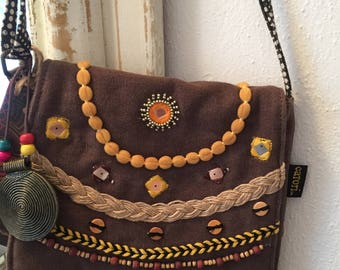 Catori Brielle Flap Over Crossbody Bag - Boho Bohemian Cross Bag - Macrame Bag - Beaded Purse Bag - Bohemian Purse - BROWN