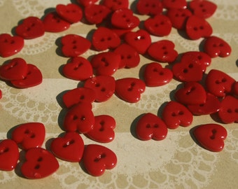 "Red Heart Buttons - Bulk Buttons Hearts Sewing Button - 3/8"" Wide - 40 Buttons"