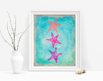 Nautical Printable Starfish Wall Art, Coastal Art Print, Ocean Decor, Beach House Decor, Digital Download