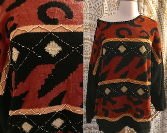 VTG 80s Abstract Print Beaded Gold Triangle Oversized Slouchy Jumper Sweater 3XL