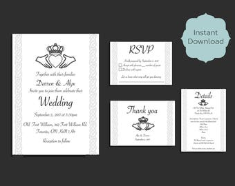 Celtic Claddagh Wedding Invitation Set