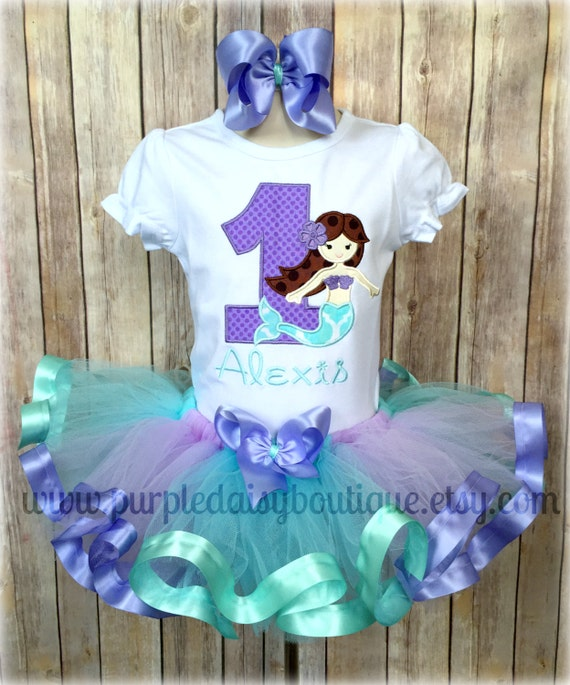 Mermaid Under The Sea Theme Lavender And Aqua Ribbon Trim Tutu