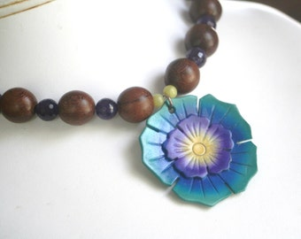 Amethyst Turquoise and Green Jade Wood Necklace