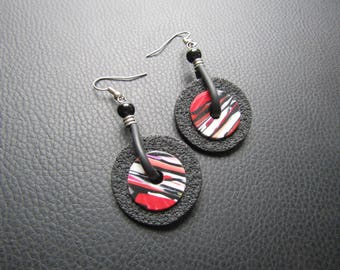 Earrings in polymer clay and buna cord