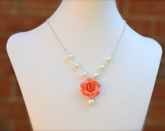 Coral Rose necklace, coral flower necklace, coral bridesmaid Necklace, Coral wedding theme Jewelry, Coral spring summer Jewelry