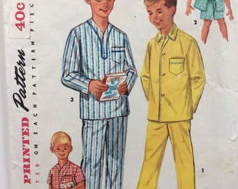 Simplicity 1434 boy's pajamas size 4 or size 12 vintage 1950's sewing pattern