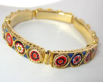 Micro mosaic, Millefiori Floral panel Bracelet in gold tone ~pretty vintage costume jewelry