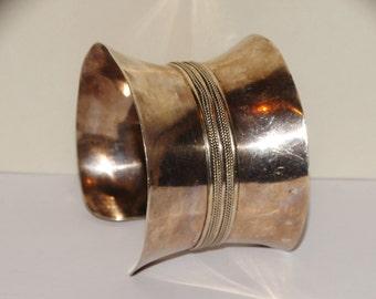 Vge 63g Sterling Silver Concave Cuff Bracelet.