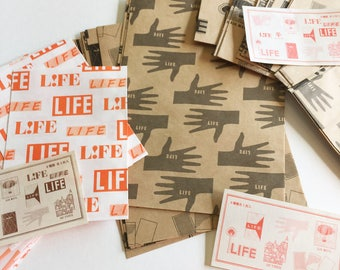 LIFE Retro Illustration Paper Bags | kraft paper bag | Japanese stationery