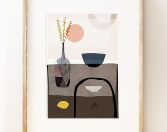 Modern still life art print 'Stillness 2'. Contemporary art print, gallery wall art, Japanese ceramics, pastel palette, art gifts