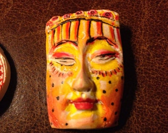 clay face jewelry craft supplies  handmade cabochon   polymer clay  findings   doll parts head mask stripes tribal
