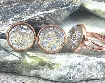 Champagne Druzy Jewelry Set - Druzy - Champagne - Druzy Earrings - Druzy Ring - Drusy - Bridesmaid Gift - Champagne Jewelry Set - Ring Set -