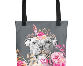 Staffie Tote bag - Staffordshire Bull Terrier Tote, Staffy Tote, Staffie Lover Gift, Pink Flowers