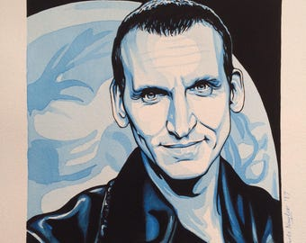 Limited edition Art Print of CHRISTOPHER ECCLESTON (Dr Who) from the original watercolour/gouache painting by Chris Naylor