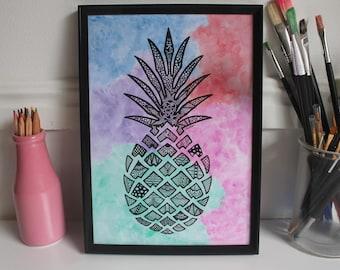 Zentangle Watercolour Pineapple Print