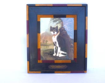 Vintage TUXEDO CAT Folk Art Framed PRINT