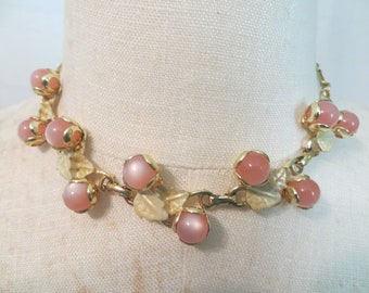 Pink Thermoset Rosebud and Enamel Leaf Choker Style Necklace