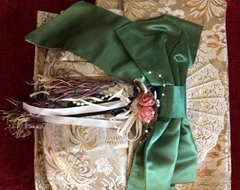 Gold and silver Japanese pre-tied obi belt for lady's kimono and yukata