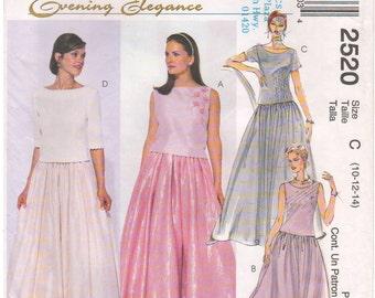 1999 - McCalls 2520 Sewing Pattern Sizes 10/12/14 Evening Elegance Top Skirt Evening Formal Wedding Bateau Neck Darts Sleeveless Gathered