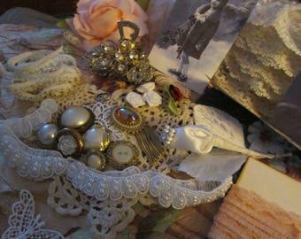 Destash  Inspiration kit  Junk Journal Rhinestone and pearl