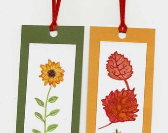 Two Handpainted Watercolor Book Marks / Original Paintings / Autumn Fall Leaves and Golden Sunflower