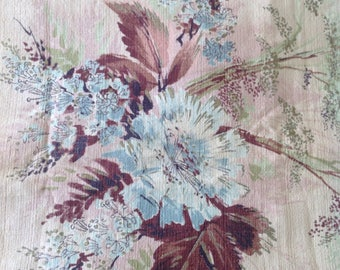 "Vintage 1950's Floral Barkcloth Fabric 72"" x 40"""