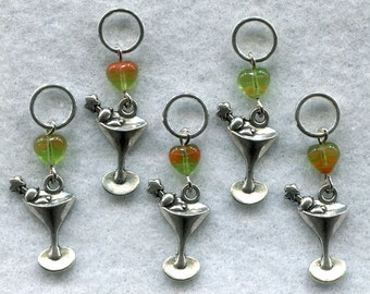 Martini Knitting Stitch Markers Cocktail Classic Set of 5 /SM114