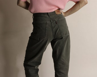 Vintage 80s Levi's 550 green wash jeans | army green levis | green Levis | high waisted jeans denim | baggy jeans | high waist | 29 waist