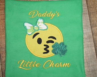 Fast Shipping!!! St. Patricks Emoji/ 4  Leaf Clover Emoji/ Irish Emoji Shirt/ Daddys Charm Emoji Shirt