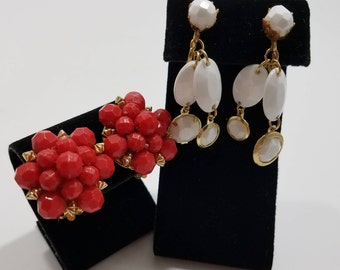 Gorgeous Pair of Hong Kong Clip Earrings with Plastic Beading