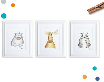 Nursery Art Watercolor Animals, Set of 3 Prints, Party Animals Art, Hippo, Moose, Panda, Modern Gender Neutral Nursery, Nursery Art Animals