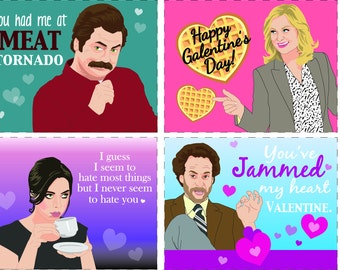 Parks and Rec Printable Valentines!!! Leslie Knope Ron Swanson April Ludgate Jeremy Jamm