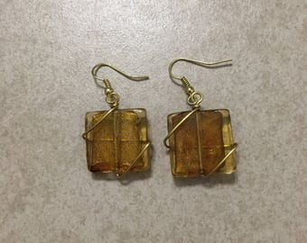 Wire Wrapped Brown Glass Earrings