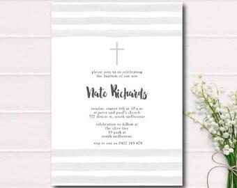GREY and WHITE Stripe Baptism Invitation, Christening Invite with Cross grey and white stripe Printable Baptism Printable Christening Grey