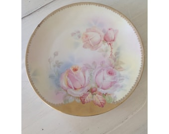 B Prussia Royal Rudolstadt pink roses plate with beautiful 24 KT gold trim